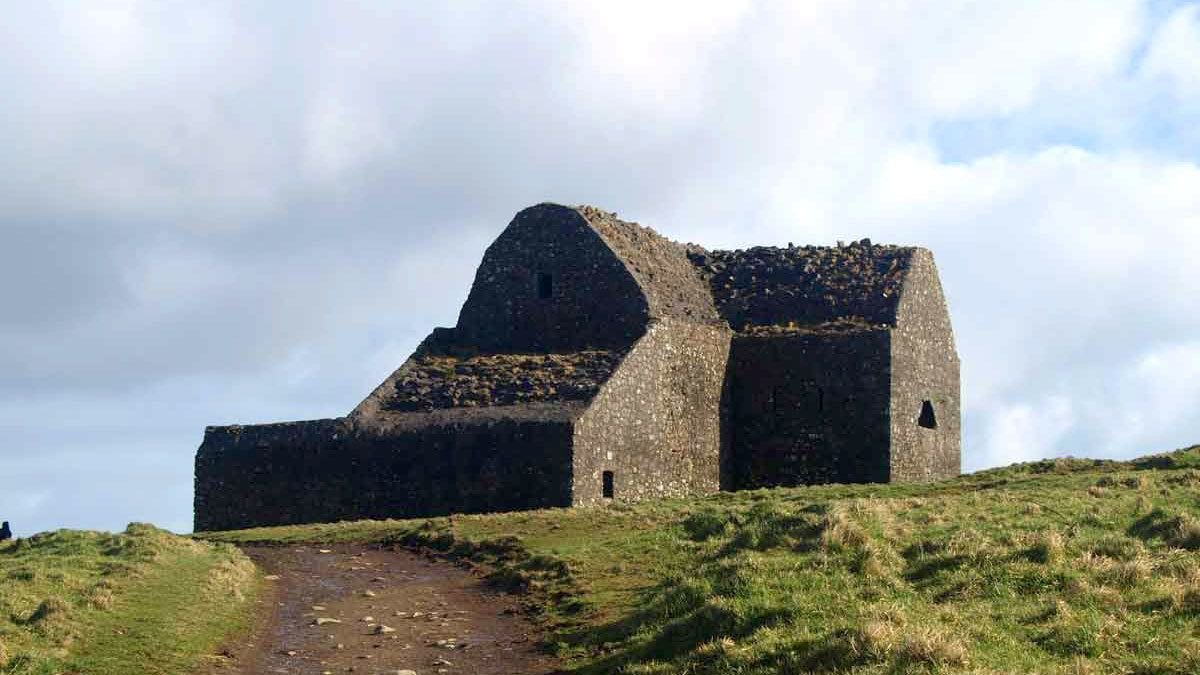 View of the Hell Fire Club ruins on hill in Dublin