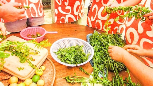 Herbs are being prepared in a cooking class