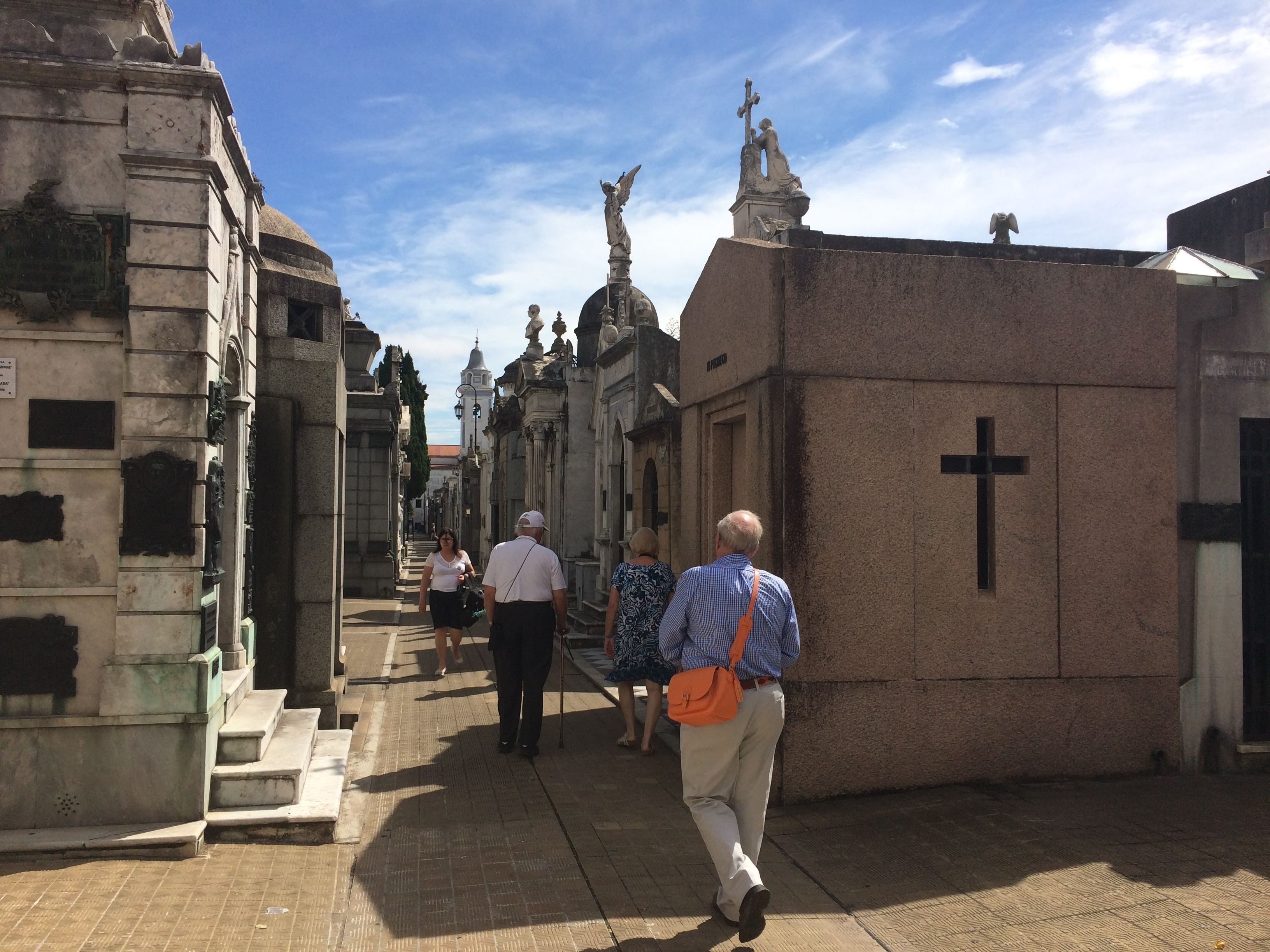 People walking through cemetery in Buenos Aires