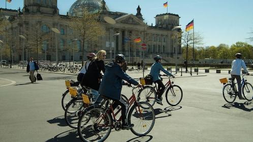 Bicycling group riding through Berlin