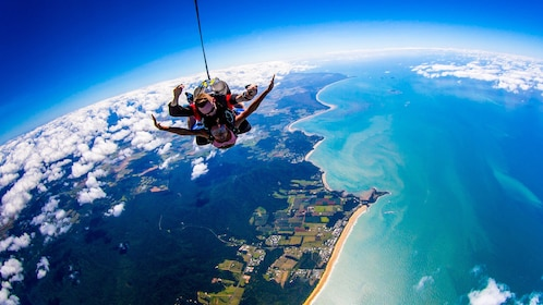 Skydivers plummeting to the earth above Australia