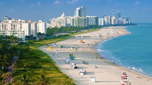 View of the sandy coast and city in Miami