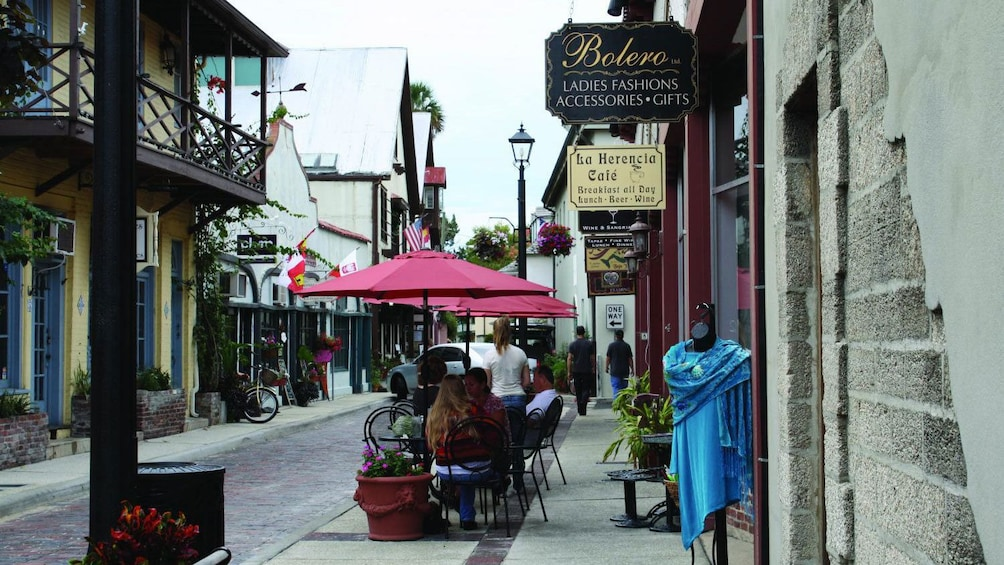 Narrow street lined with shops in St Augustine