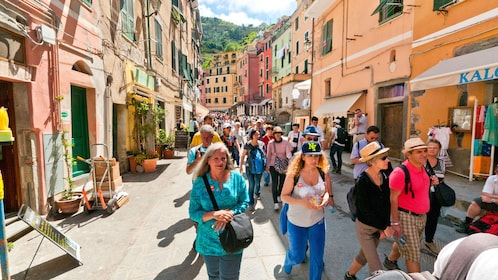 Tourists walk the streets of Cinque Terre