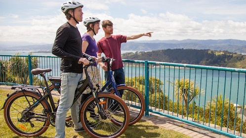 Couple on bikes stand next to guide in Wellington