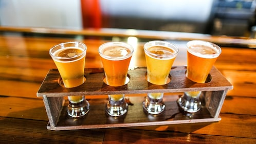 Flight of beer on food tour in Florida