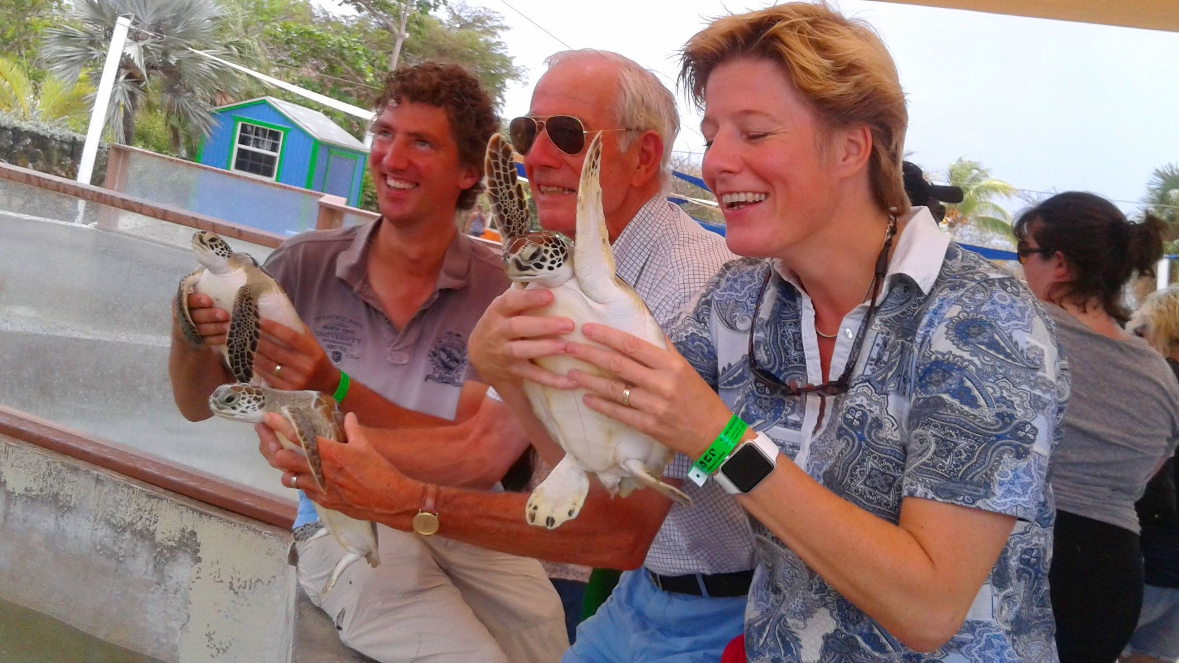 Three people holding turtles at the Cayman Turtle Center