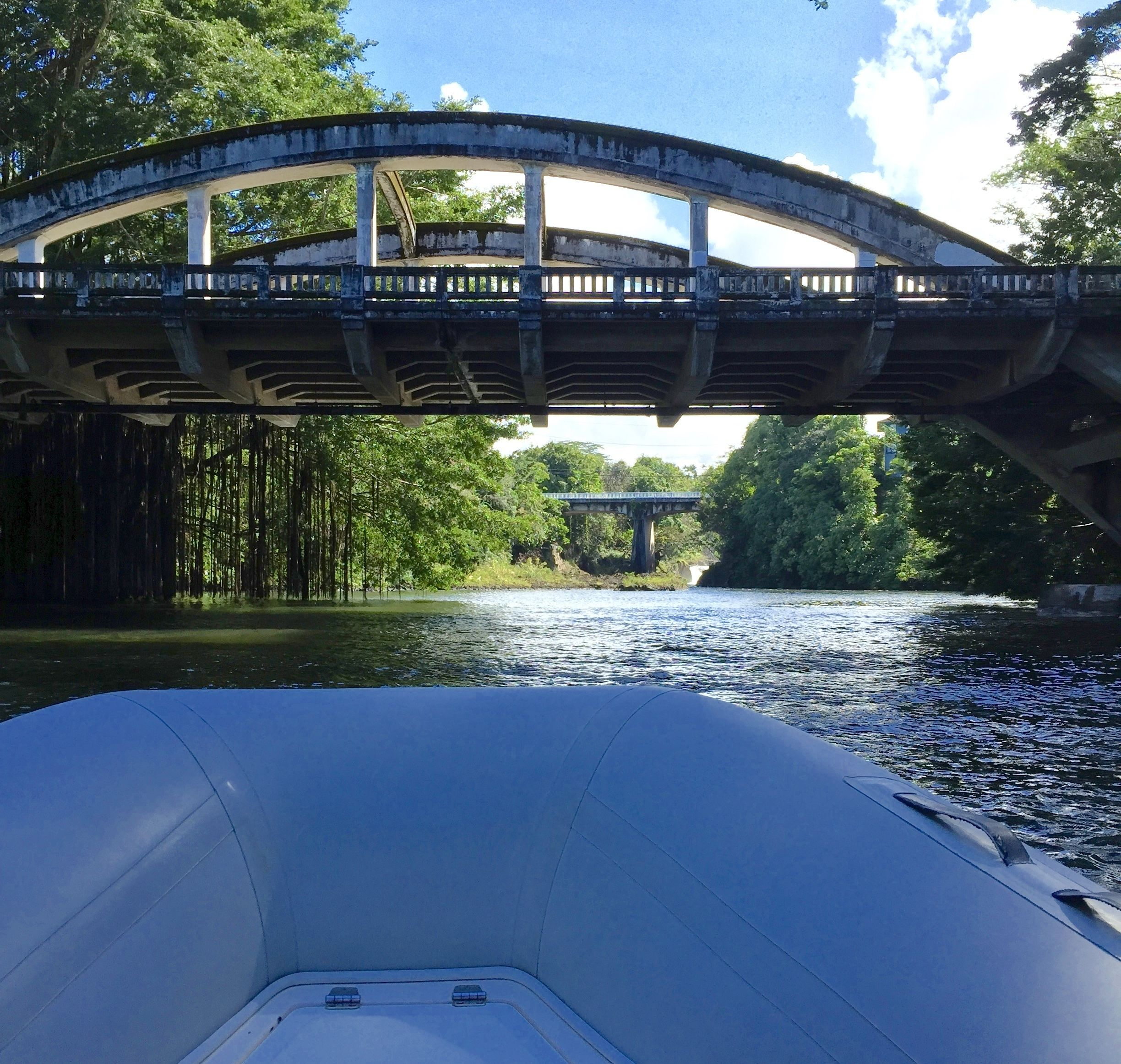 View from a boat going under a bridge on a river on Big Island