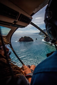 View of Hawaiian coastline from a helicopter