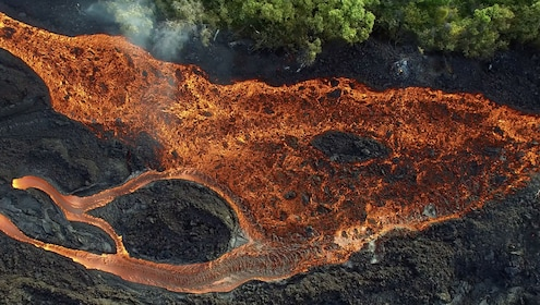 Lava flow on a Hawaiian island