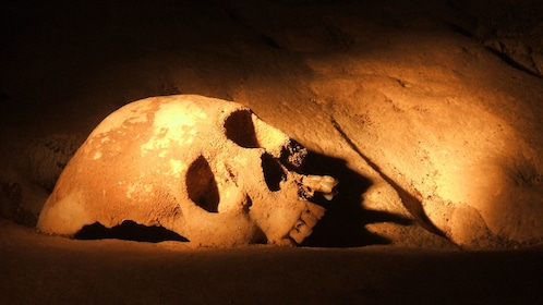 Human skull from ancient cave society in Belize
