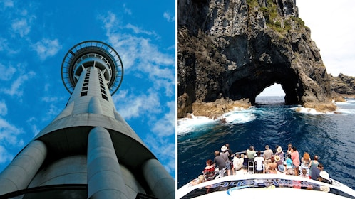 Split image of the Sky Tower and a cruise of the Bay Islands Hole in the Rock in Auckland