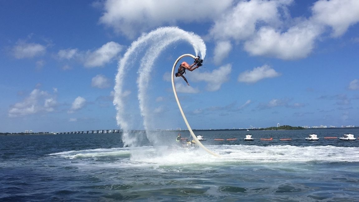 Guest flipping on the Flyboarding in Miami