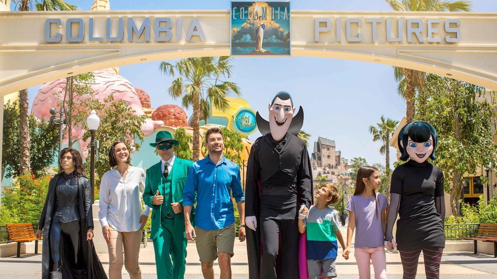 Show item 5 of 10. Characters in front of the Columbia Pictures Gate in  the MOTIONGATE™ park in Dubai