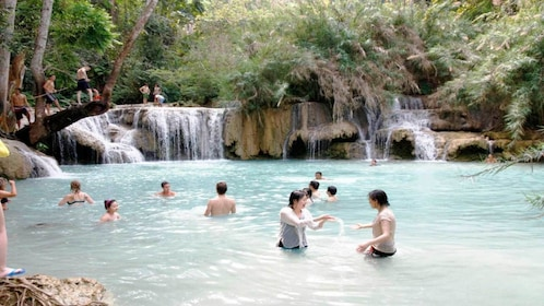 Group swimming at the waterfall in Tranh stream, Vietnam