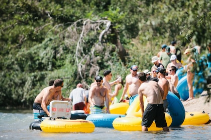 People getting into river in Texas