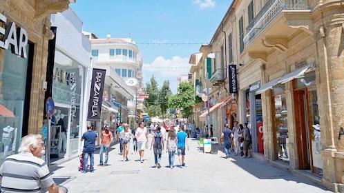 Guests walking along the Ledra Street Thoroughfare in Nicosia, Cyprus