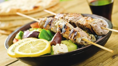 Kabobs and salad at restaurant in Cyprus