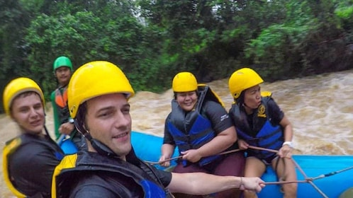 Group rafting on a river in Phuket