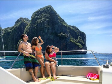 Guests enjoying the view aboard a boat tour of Phi Phi & Maiton Islands