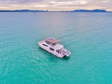 Aerial view of the Phi Phi and Maiton Islands by Power Catamaran in Thailand