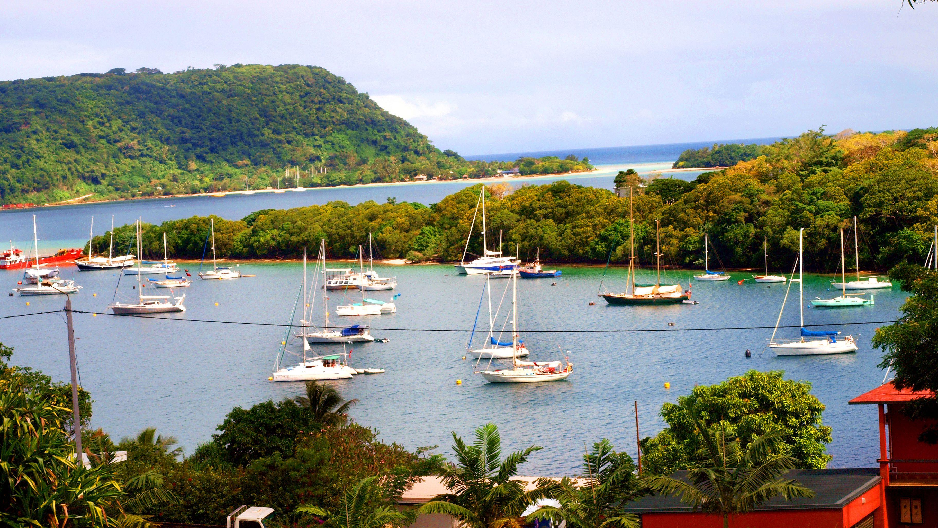 Boats in a harbor of Vanuatu Island