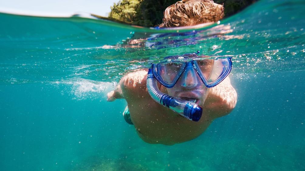 Young man snorkeling on Vanuatu Island