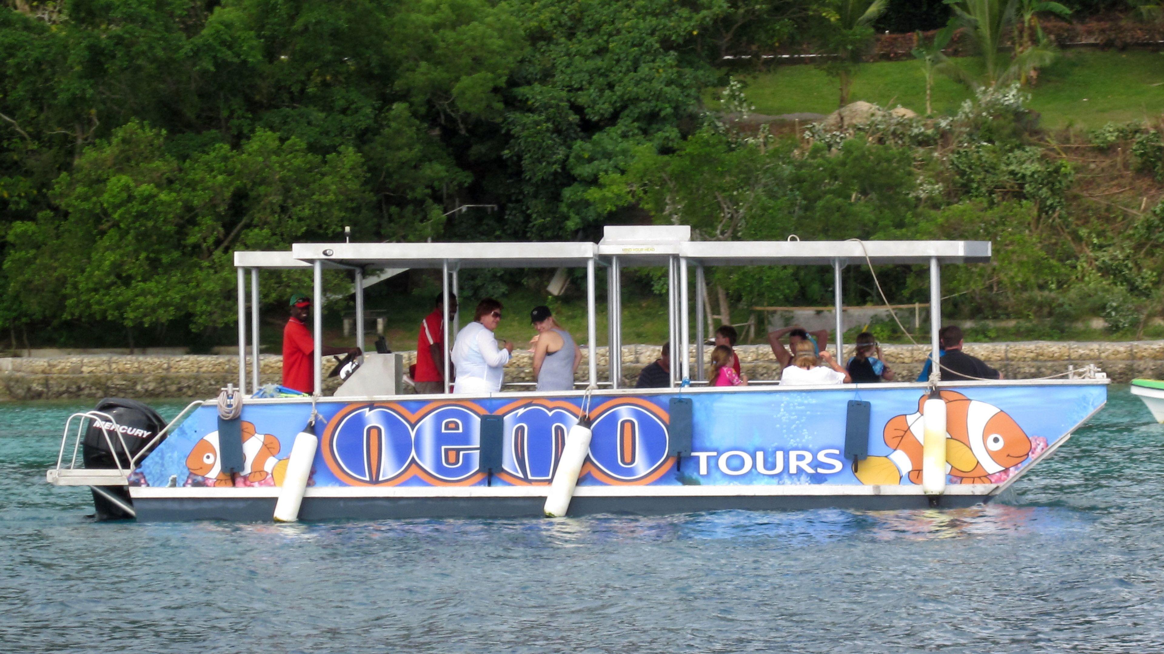 Glass bottom boat on Vanuatu Island