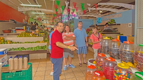 Tour group at a market in Cozumel