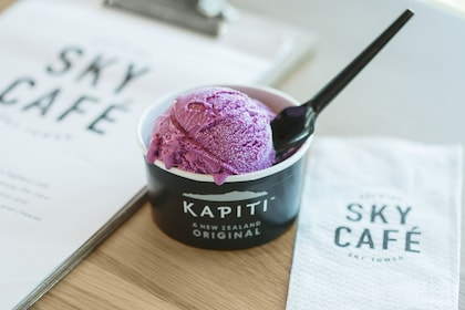 A cup of Kapiti ice cream in the cafe of the Sky Tower