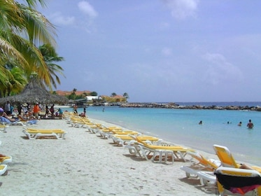 Lounge chairs on beach in Curacao