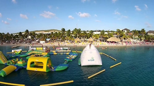 Inflatable water obstacle course in Curacao