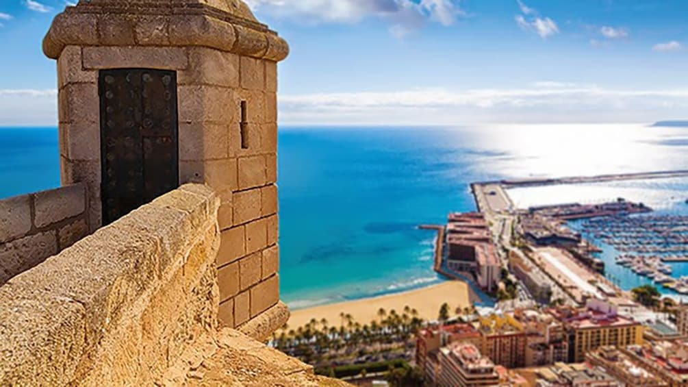 Show item 5 of 5. Scenic outlook og the beach and piers in Alicante