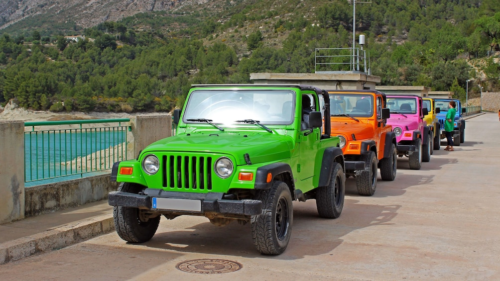 Show item 5 of 5. Colorful Jeeps on a bridge in Costa Blanca