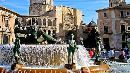 Fountain in a square in Valencia