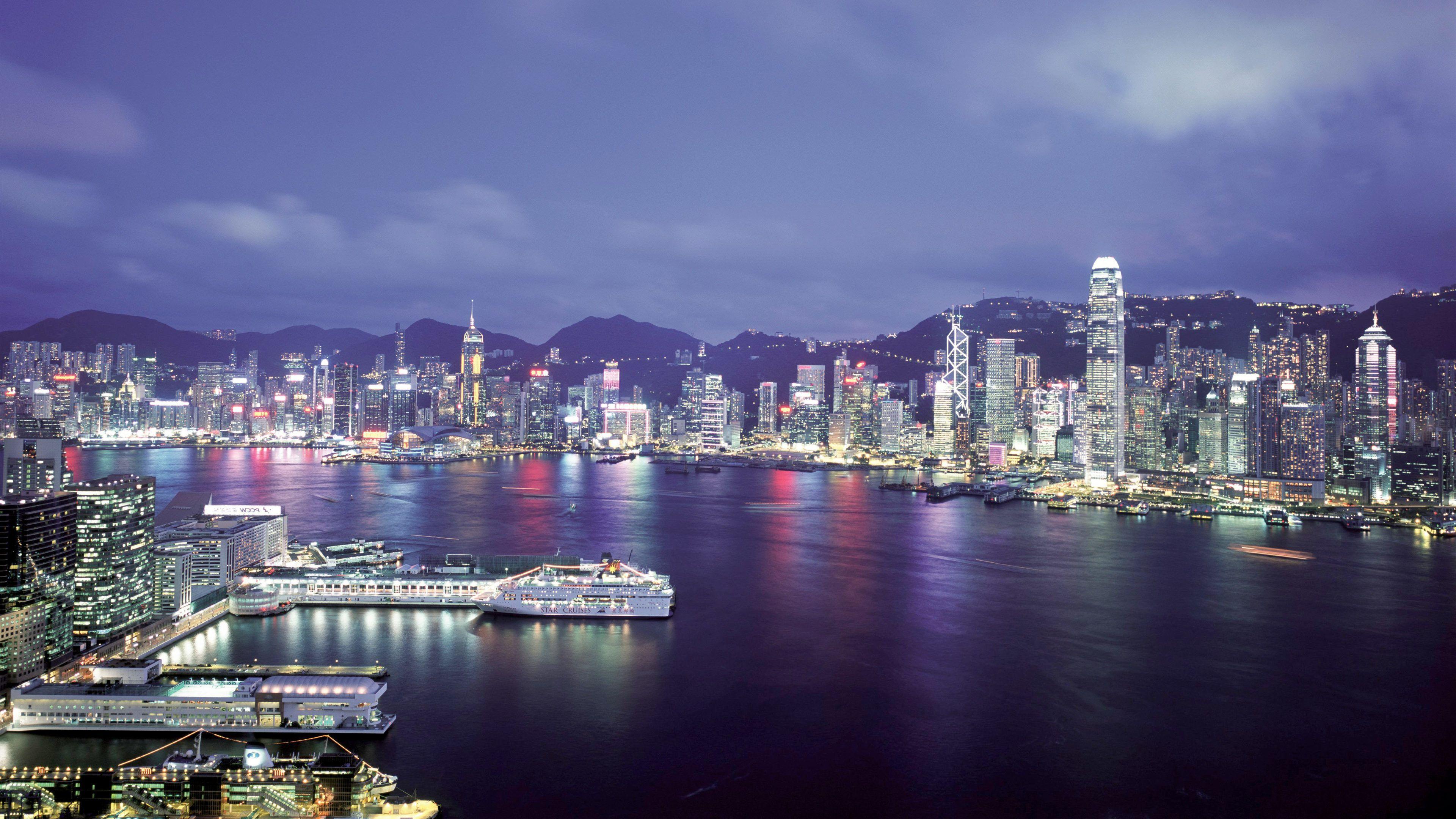 Stunning view of Victoria Peak at night in Hong Kong
