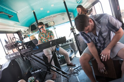 Musicians on a bus in Texas