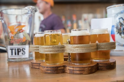 Glasses of beer at a brewery in Texas