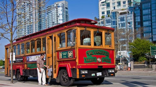 Boarding the trolley in Vancouver