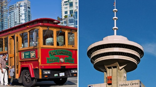 Combo image of trolley and observation deck in Vancouver