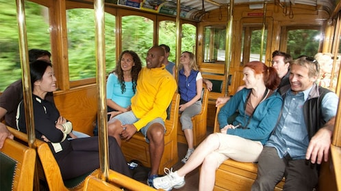 Enjoying the leisure inside the trolley in Vancouver