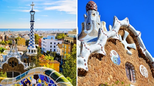 Combo image of Park Guell and Casa Battlo