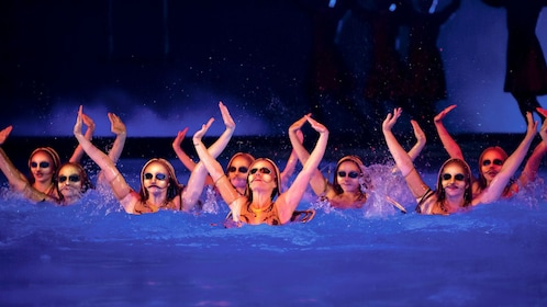 Costume synchronized swimmers in Cirque du Soleil O at the Bellagio in Las Vegas