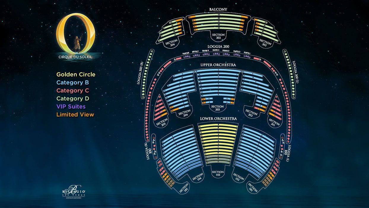 Seating chart of Bellagio for Cirque Du Soleil O in Las Vegas