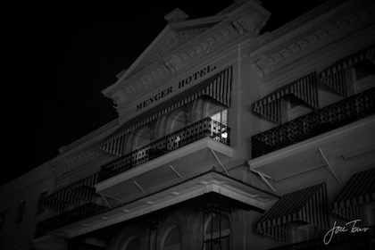 Black and white photo of a hotel in San Antonio