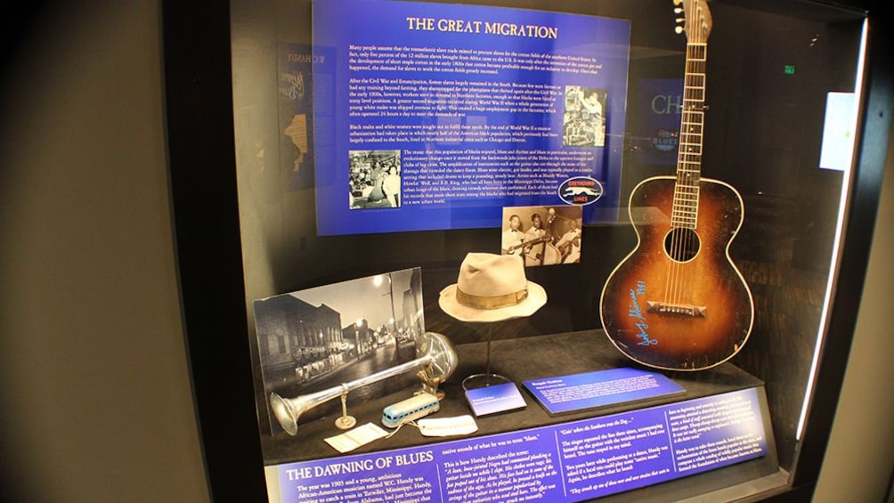 Close view of a display case at the Gateway to the Blues Museum