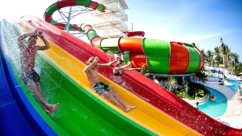 Group on waterslides at a park in Bali