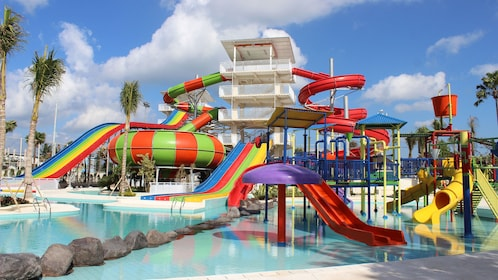 View of the fun Splash Water Park in Bali