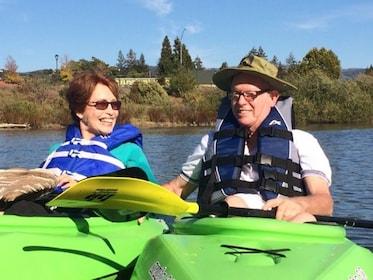 Couple on the Historic Kayak Tour Through Downtown Napa River