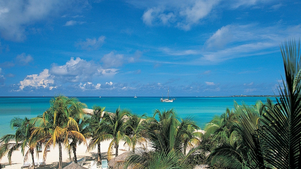 View out over water in Bahamas